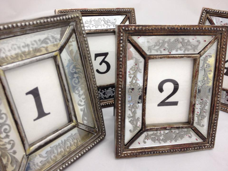 antique glass table number frames