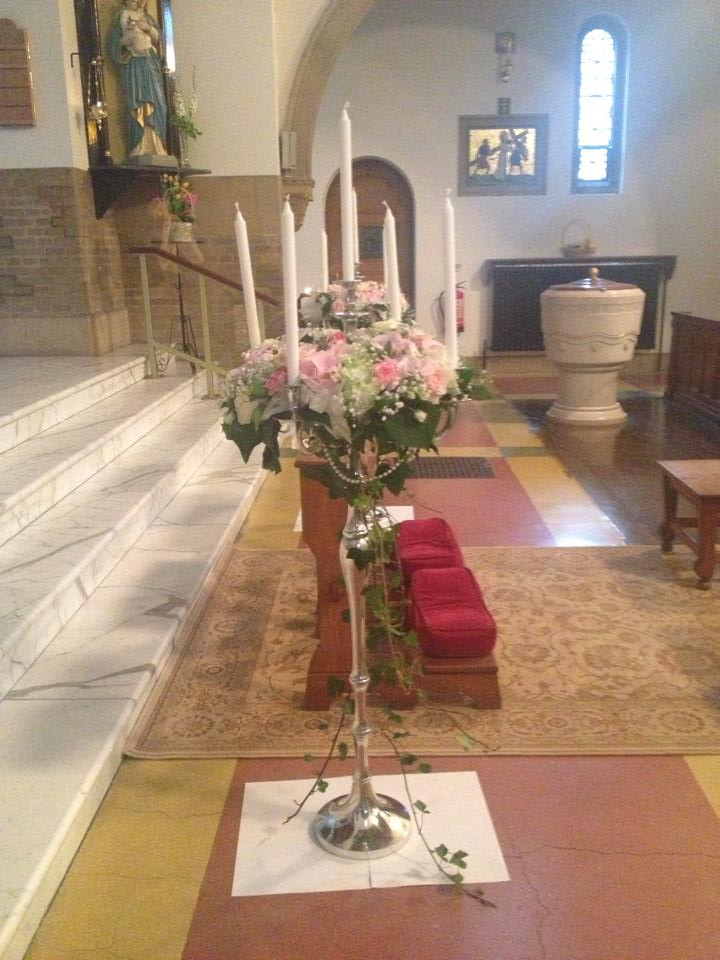 floor standing candelabra in church